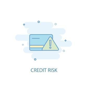 신용 위험 라인 개념입니다. 간단한 라인 아이콘, 컬러 그림입니다. 신용 위험 기호 평면 디자인입니다. ui/ux에 사용할 수 있습니다.