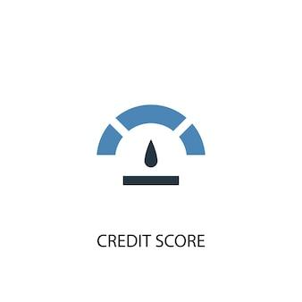 Концепция кредитного рейтинга 2 цветных значка. простой синий элемент иллюстрации. дизайн символа концепции кредитного рейтинга. может использоваться для веб- и мобильных ui / ux