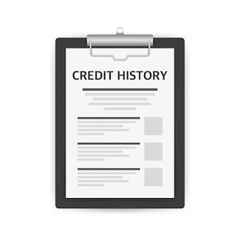 Credit score document, paper sheet chart of personal credit score information.