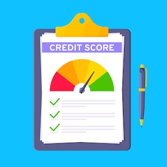 Credit score gauge speedometer indicator with color levels on clipboard