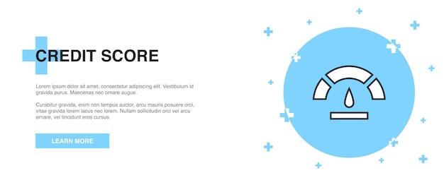 Credit score icon, banner outline template concept. credit score line illustration design