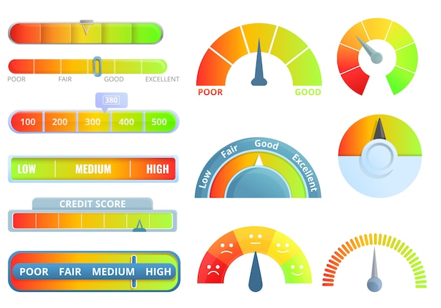 Credit score icons set, cartoon style