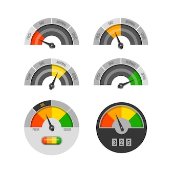 Credit score indicators vector set