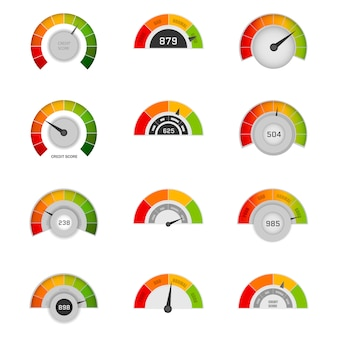 Credit score indicators with color levels from poor to good. banking report borrowing application risk form document loan business market. rating credit meter good and poor, indicator credit.