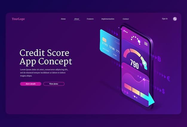 Pagina di destinazione isometrica del punteggio di credito, valutazione dei consumatori bancari sullo schermo dello smartphone con misuratore dell'applicazione.