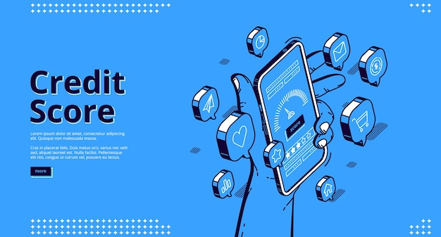 Credit score isometric landing page, hand holding smartphone with application meter. bank consumer loan personal rating and risk control banking mobile service, 3d line art web banner template