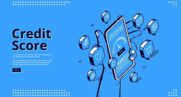 Pagina di destinazione isometrica del punteggio di credito, smartphone con misuratore di applicazioni. valutazione personale del prestito al consumo bancario e servizio mobile bancario di controllo del rischio, modello di banner web 3d line art