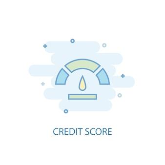 Концепция кредитной линии. значок простой линии, цветные рисунки. плоский дизайн символа кредитного рейтинга. может использоваться для ui / ux