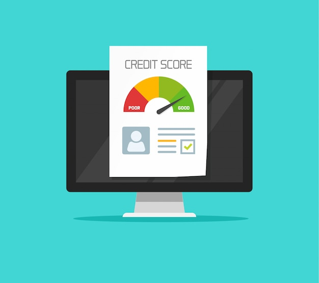 Credit score online report document on computer flat cartoon clipart