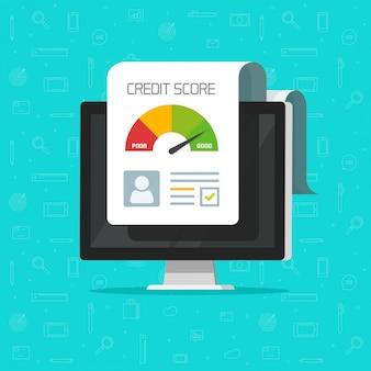 Credit score online report document on computer screen