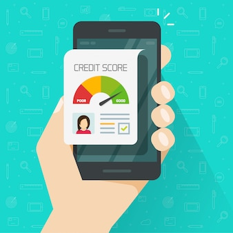 Credit score online report document on mobile phone or cellphone flat cartoon