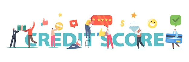 Credit score rating concept. tiny characters with huge pile of banknotes, credit card, brilliant, banking service, clients creditworthiness poster, banner or flyer. cartoon people vector illustration