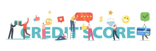 Концепция рейтинга кредитного рейтинга. крошечные персонажи с огромной кучей банкнот, кредитные карты, блестящие, банковские услуги, плакат о кредитоспособности клиентов, баннер или флаер. мультфильм люди векторные иллюстрации