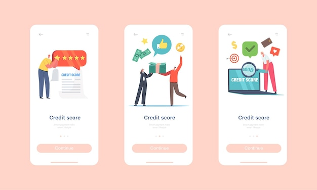 Credit score rating mobile app page onboard screen template. characters take credit in bank. client creditworthiness and high rate concept. tiny people with money pile. cartoon vector illustration