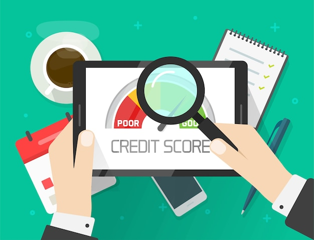 Credit score rating report analysis check, person research financial history accounting information concept