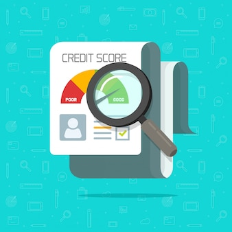 Credit score report research document  flat cartoon