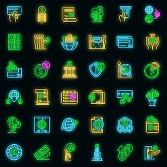 Набор иконок кредитного союза. наброски набор векторных иконок кредитного союза неонового цвета на черном