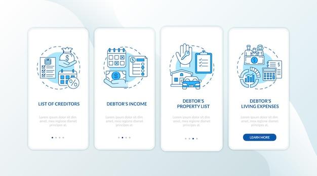 債権者と債務者の青いオンボーディングモバイルアプリのページ画面とコンセプト