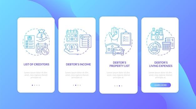 Темно-синий экран страницы мобильного приложения для кредитора и должника с изолированными концепциями