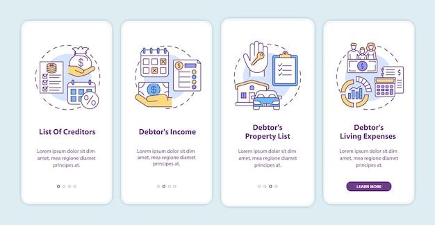 Экран страницы мобильного приложения для кредиторов и должников с концепциями
