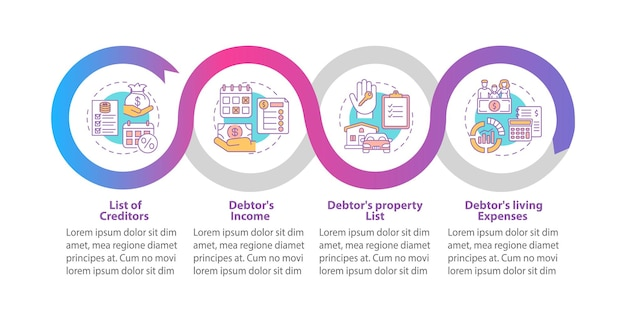 Creditor and debtor contract infographic template illustration