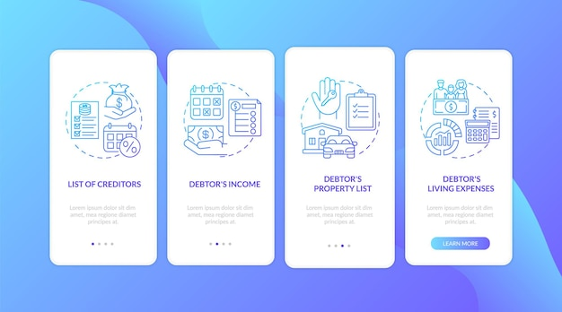 Creditor and debtor dark blue onboarding mobile app page screen with concepts isolated
