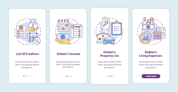 Creditor and debtor onboarding mobile app page screen with concepts