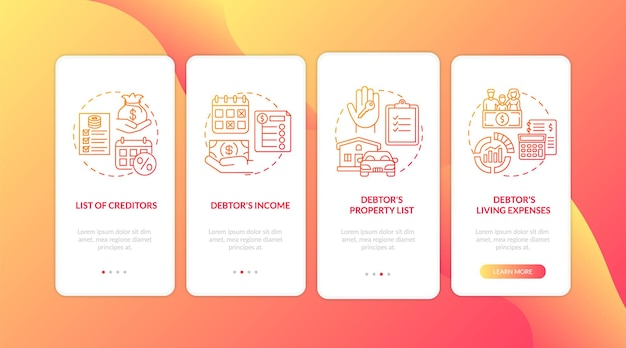 Creditor and debtor red onboarding mobile app page screen with concepts