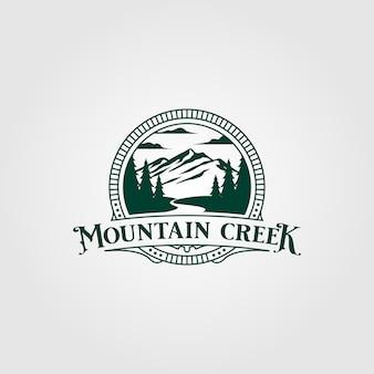 Ручей и горный винтажный дизайн логотипа