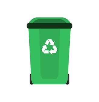 Creen 쓰레기통, 재활용 쓰레기. 삽화.