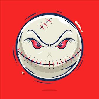Creepy baseball ball cartoon illustration