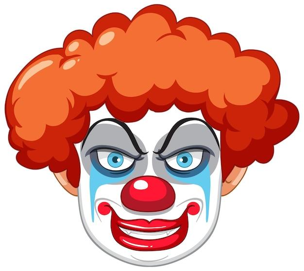 Жуткое лицо клоуна на белом фоне
