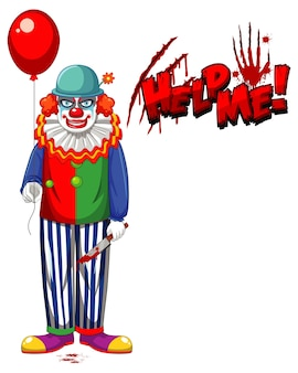 Creepy clown holding balloon on white background