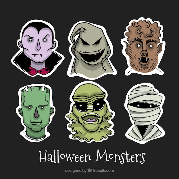 Creepy collection with halloween monsters
