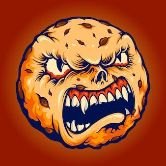 Creepy cookies monster chocolate cake halloween vector illustrations