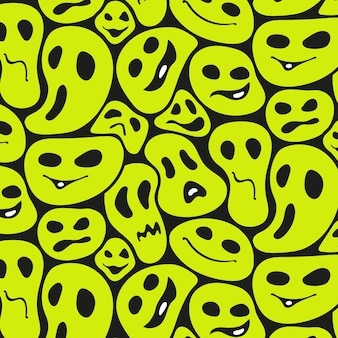 Creepy distorted emoticon pattern template