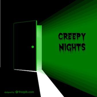 Creepy door with green light
