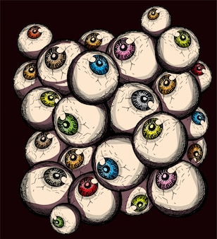 Creepy eyeballs doodle simple hand drawing decorative halloween background