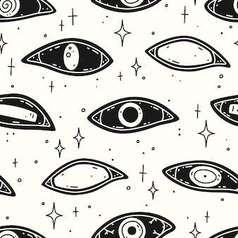 Жуткие глаза на белом фоне. бесшовный узор вектор