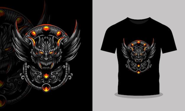 不気味な空飛ぶドラゴンのイラストtシャツとポスターのデザイン