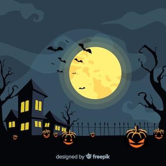 Creepy halloween background with flat design