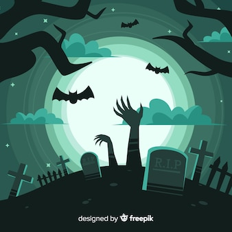 Creepy halloween background with flat design