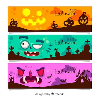 Creepy halloween banners with flat design