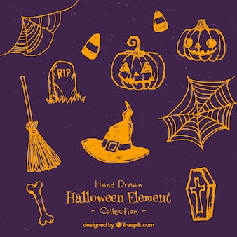 Creepy halloween elements