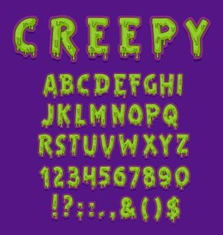 Жуткий шрифт хэллоуина зеленого типа слизи с заглавными буквами и цифрами или цифрами.