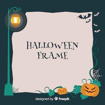 Cornice di halloween raccapricciante con design piatto