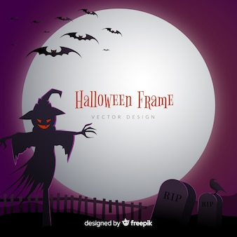 Creepy halloween frame with flat design