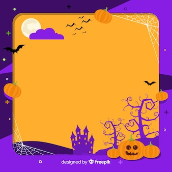Creepy halloween frame with flat design
