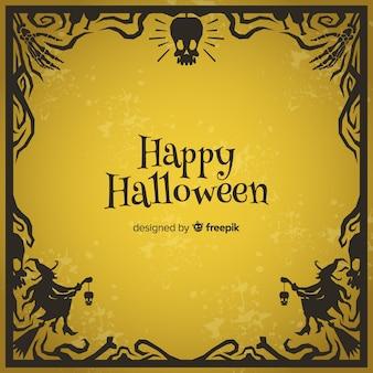 Creepy halloween frame with vintage style