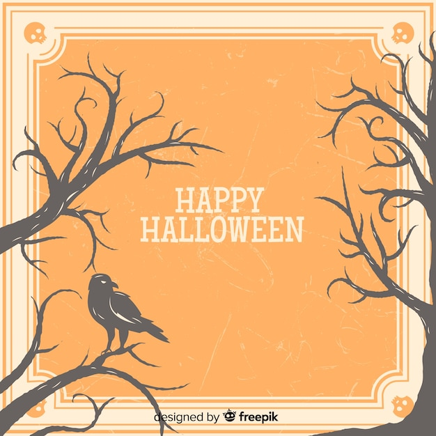 Creepy halloween frame with vintage style